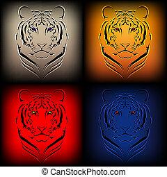 vetorial, tigres, jogo, vário, col