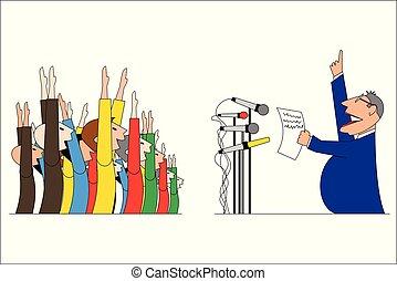 vetorial, torcida, homem negócios, político, ou, ilustração, pessoas, falando
