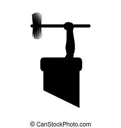 vetorial, trabalho, ilustração, varredura, silueta, cano, ferramentas, stuck., chaminé, desenhistas, ter