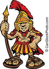 vetorial, trojan, cartoo, mascote, spartan