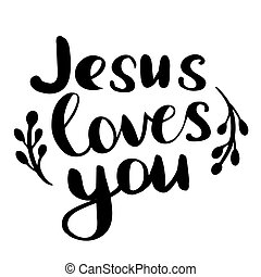 vetorial, tu, pretas, lettering, amores, mão, jesus