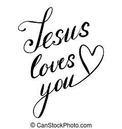 vetorial, tu, pretas, lettering, coração, amores, mão, jesus