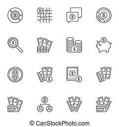vetorial, usd, jogo, esboço, ícones, -, dólar, conceito, sinais