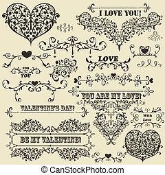 vetorial, valentine, elementos, desenho, vindima