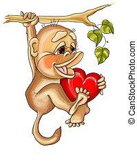 vetorial, valentine, penduradas, ilustração, ramo, amor, macaco