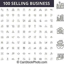 vetorial, vender, esboço, negócio, jogo, ícones, ilustração, conceito, linha, sinais