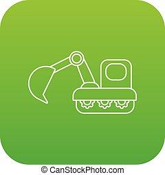 vetorial, verde, escavador, ícone