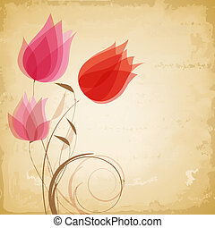 vetorial, vindima, flores