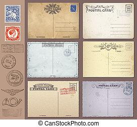 vetorial, vindima, selos, postais
