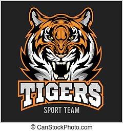 vetorial, zangado, desporto, emblema, rosto, tiger