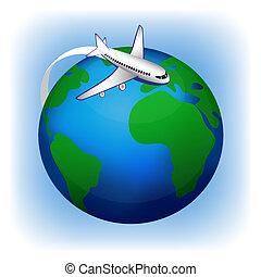 viagem, ícone, avião, vetorial