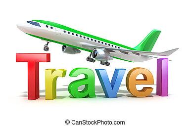 viagem, conceito, palavra, avião