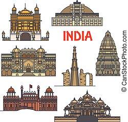 viagem, indianas, arquitetura, ícone, marcos