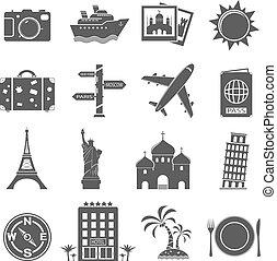 viagem, jogo, marcos, ícones