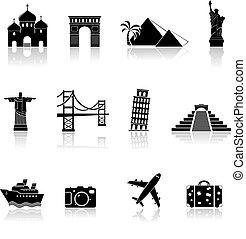 viagem, marcos, ícones
