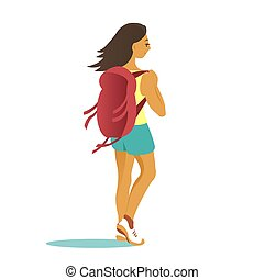 viagem, mulher, backpacks., jovem