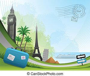 viagem, postal, cartão, fundo