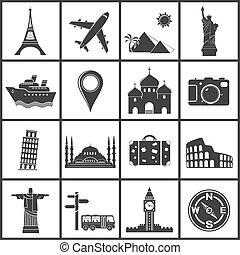 viagem, vetorial, marcos, ícones