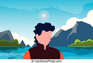 viajante, natural, hiking, paisagem, homem