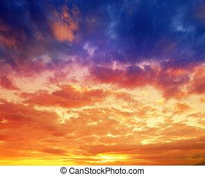 vibrante, dramático, pôr do sol, havaí