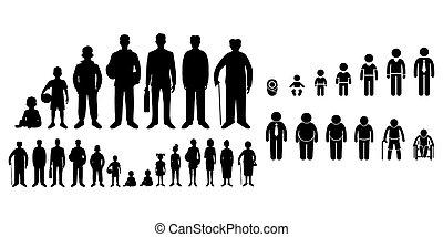 vida bebê, criança, branca, estudante, fundo, human, antigas