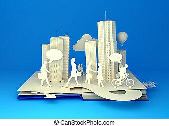 vida cidade, ocupado, -, livro, pop-up