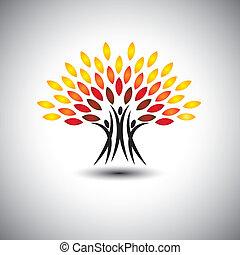 vida, conceito, feliz, jovial, eco, pessoas, -, árvores, vector.