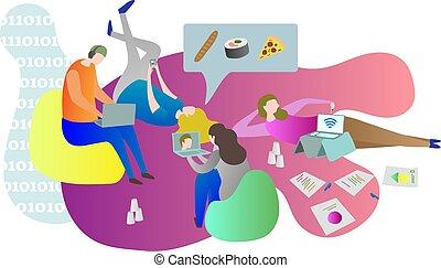 vida, gadgets., fêmeas, relaxante, machos, deitando, cena, junto, enquanto, estudante universitário, online, conceitual, usando, indoors., amigos, chilling, chão