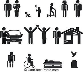 vida, mortos, antigas, stage., juventude, idade, nascimento, maioridade, adolescência