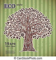 vida, original, árvore, étnico