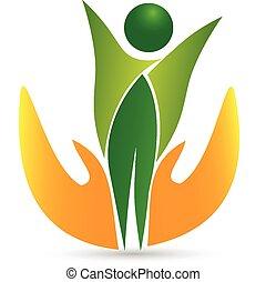vida, saúde, logotipo, ícone, vetorial, cuidado