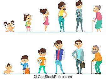 vida, velhice, diferente, juventude, caráteres, female., macho, ciclo