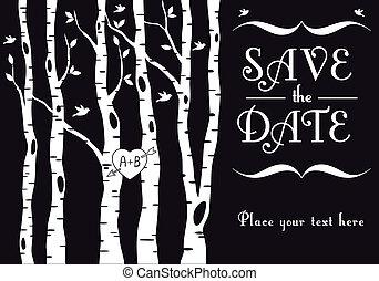 vidoeiro, convite, casório, árvores