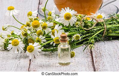vidro, óleo, essencial, garrafa