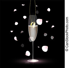 vidro, anel, champanhe