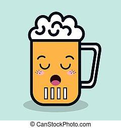 vidro, facial, ícone, caricatura, isolado, expressão, cerveja, desenho