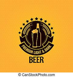 vidro, garrafa cerveja, fundo, vindima
