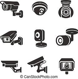 vigilância, câmeras vídeo, jogo, ícone, pictograms, gráfico, segurança