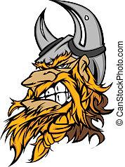viking, cabeça, caricatura, mascote