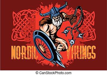 viking, escudo, bludgeon, norseman, caricatura, mascote