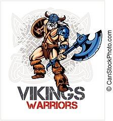 viking, escudo, norseman, machado, caricatura, mascote