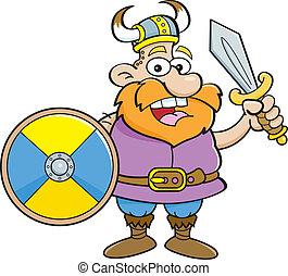 viking, escudo, segurando, caricatura