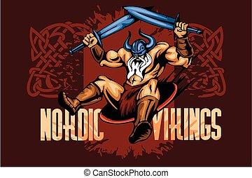 viking, espadas, dois, norseman, caricatura, mascote