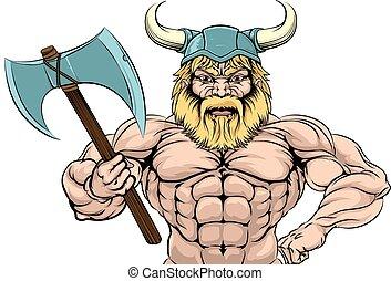 viking, guerreira, esportes, mascote