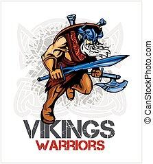 viking, norseman, espada, machado, caricatura, mascote