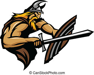 viking, norseman, inteligência, apunhalar, mascote