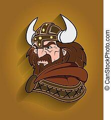 viking, zangado, personagem, caricatura