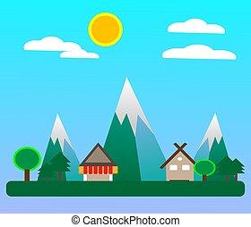 villagein, primavera, apartamento, estação, desenho