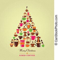 vindima, árvore café, natal, ícones