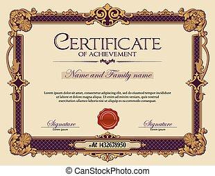 vindima, achievement., certificado